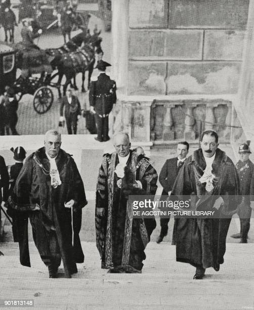 Sir Rowland Blades Lord Mayor of London climbing the steps to Capitoline hill Rome Italy from L'Illustrazione Italiana Year LIV No 41 October 9 1927