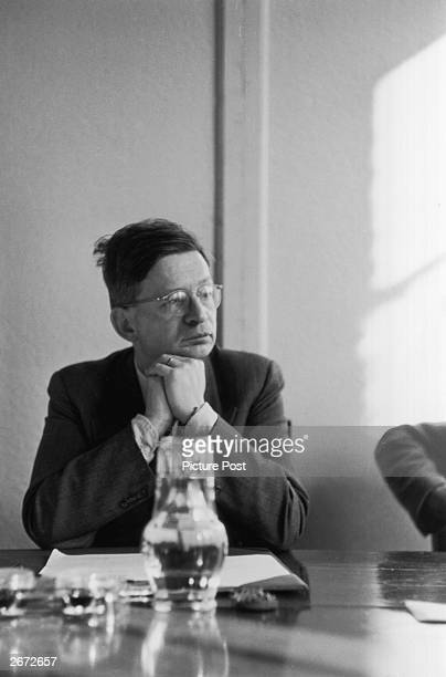 Sir Rudolf Ernest Peierls, German-born British theoretical physicist at a meeting at the Beaver Hall. Original Publication: Picture Post - 4677 - The...