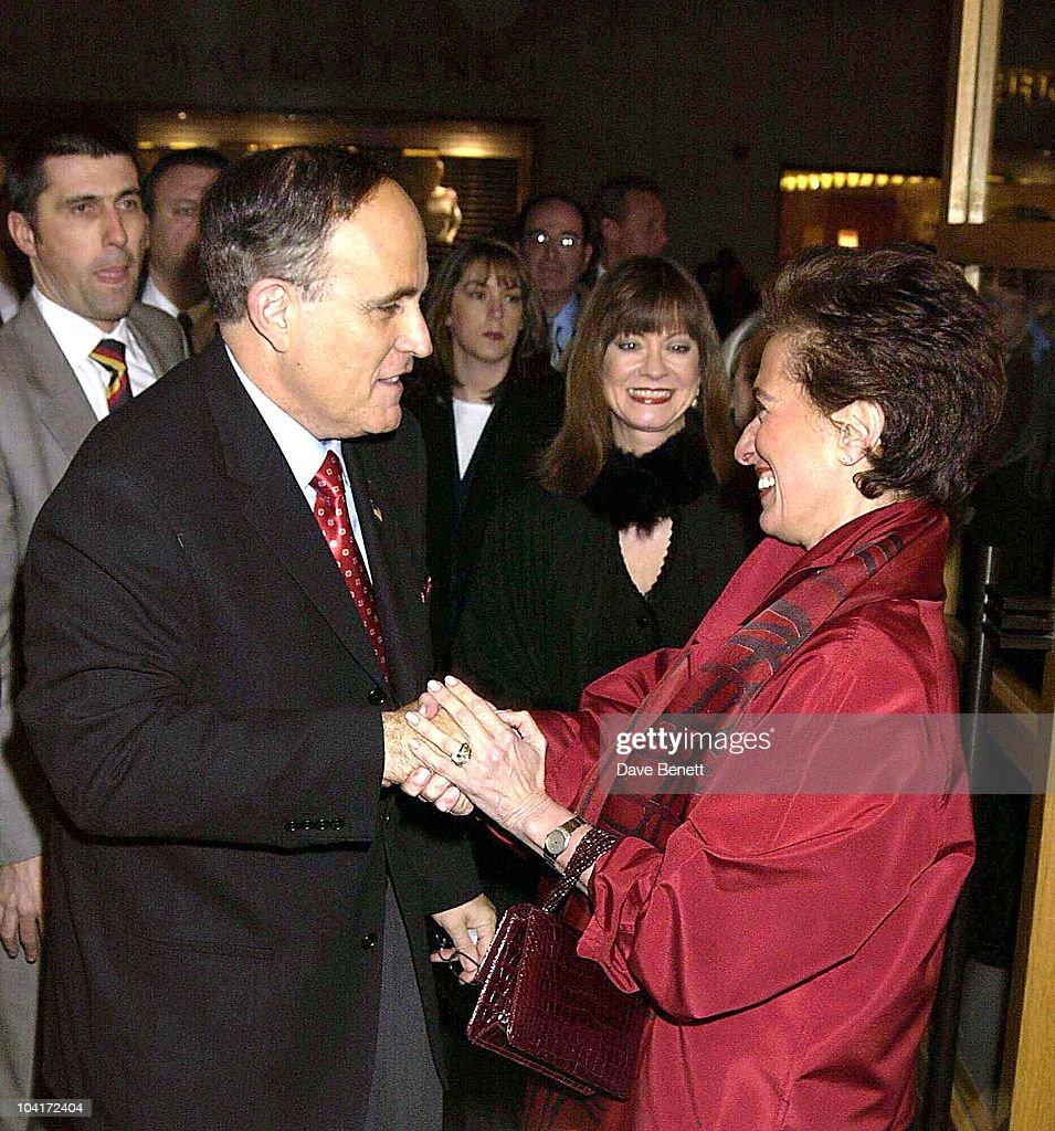 Sir Rudolph Giuliani Meets Mrs Bravo, Burberry Plays Host To Rudolph Giuliani & His Party, Burberry, Bond Street, London.
