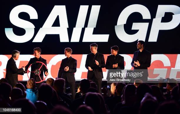 Sir Russell Coutts SailGP Chief Executive and Dylan Fletcher Chris Draper Stuart Bithell Richard Mason and Matt Gotrel of Great Britain SailGP on...
