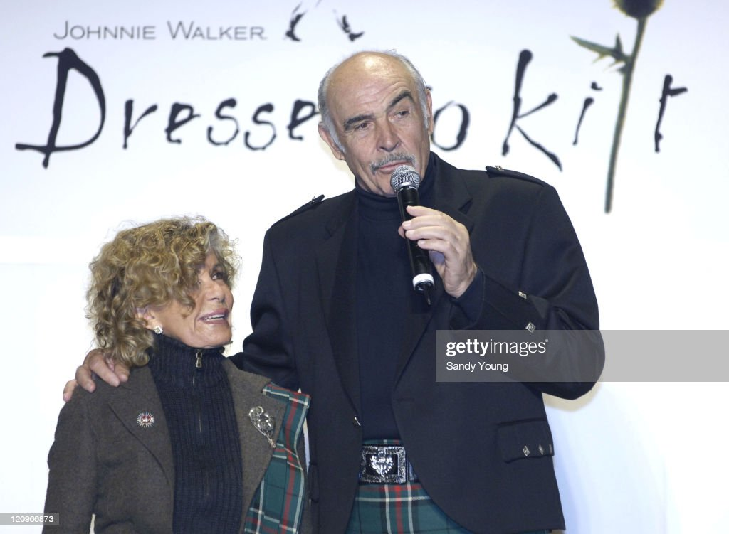Sir Sean and Lady Micheline Connery during Johnnie Walker Presents 'Dressed to Kilt' - Runway Show at Synod House at St. John the Divine Cathedral Garden in New York City, New York, United States.