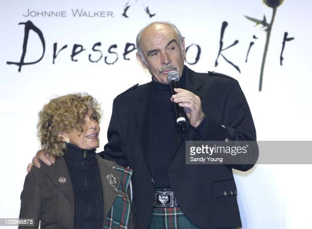 Sir Sean and Lady Micheline Connery during Johnnie Walker Presents Dressed to Kilt Runway Show at Synod House at St John the Divine Cathedral Garden...