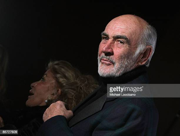 "Sir Sean Connery and Lady Connery attend the ""Dressed To Kilt"" charity fashion show benefiting Friends of Scotland at M2 Lounge on March 30, 2009 in..."