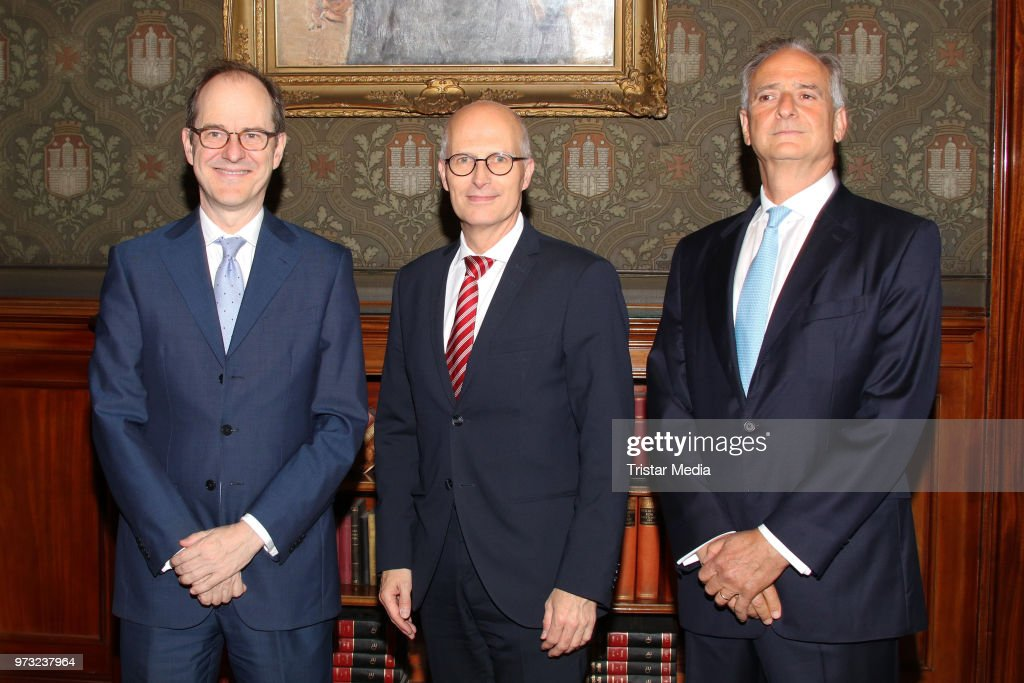 S..E. Sir Sebastian Wood, ambassador of Great Britan and North Irland withHonorary consul Nicholas Keller and Peter Tschentscher during he visits in the town hall on June 13, 2018 in Hamburg, Germany.