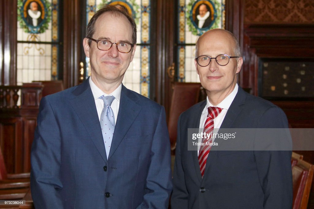 S..E. Sir Sebastian Wood, ambassador of Great Britan and North Irland with Peter Tschentscher during he visits in the town hall on June 13, 2018 in Hamburg, Germany.