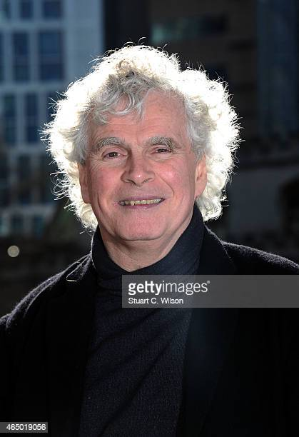 Sir Simon Rattle is announced as the new music director of the London Symphony Orchestra LSO at Barbican Centre on March 3 2015 in London England