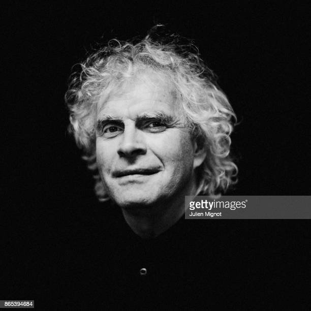 Sir Simon Rattle is photographed for Self Assignment on April 2016 in Paris France