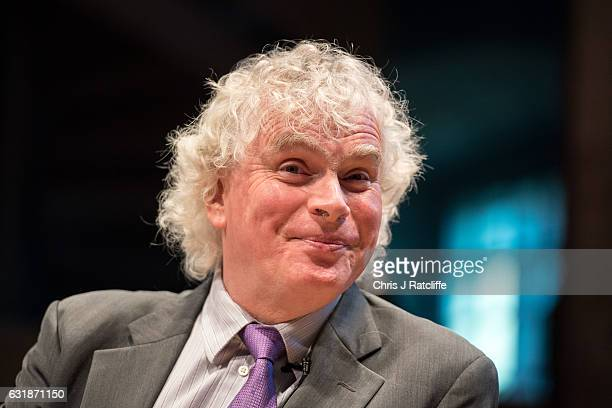 Sir Simon Rattle Music Director Designate speaks during a press conference at London Symphony Orchestra building St Luke's on January 17 2017 in...