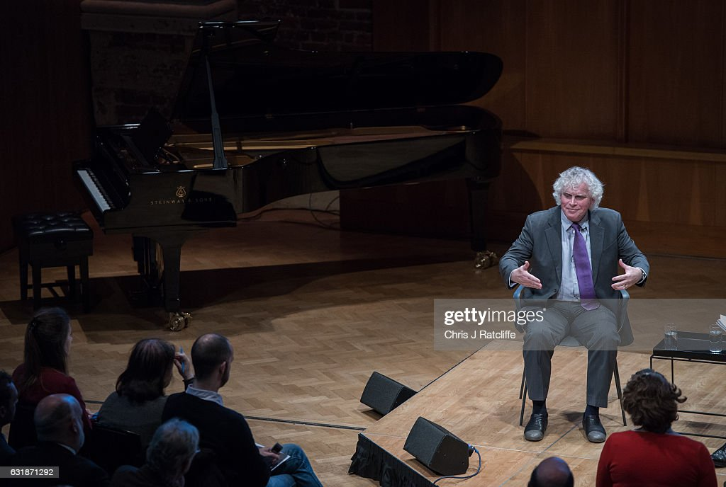 Sir Simon Rattle, Music Director Designate, speaks during a press
