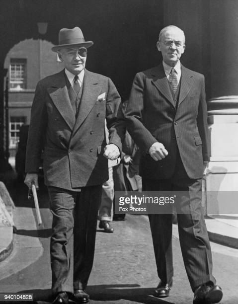 Sir Stafford Cripps Chancellor of the Exchequer with Lewis Williams Douglas the US Ambassador to the UK after a discussion on USUK economics at 10...