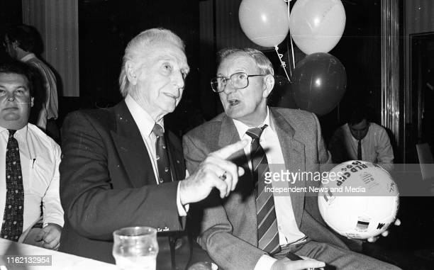 Sir Stanley Matthews and Jimmy O'Reilly watching the Ireland Vs Norway World Cup match in the Grand Hotel Malahide
