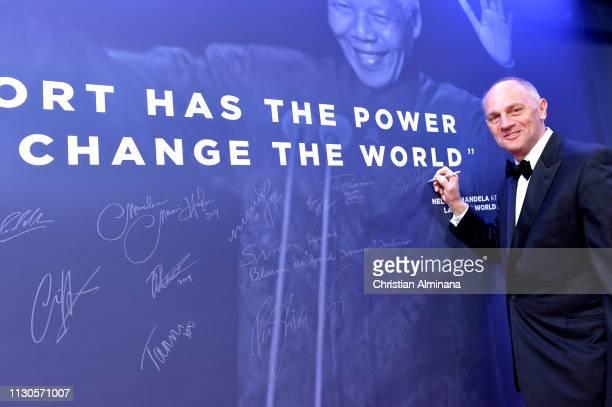Sir Steve Redgrave at the Nelson Mandela wall during the 2019 Laureus World Sports Awards on February 18 2019 in Monaco Monaco