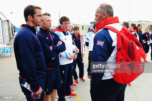 Sir Steve Redgrave meets Finn class gold medal winner Ben Ainslie of Great Britain on Day 10 of the London 2012 Olympic Games at the Weymouth...