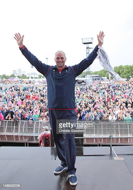 Sir Steve Redgrave poses on stage during BT London Live at Hyde Park on July 29 2012 in London United Kingdom