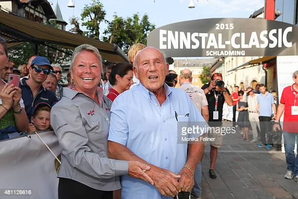 Sir Stirling Moss and his wife Susie at the finish area at the Ennstal Classic 2015 on July 17 2015 in Schladming Austria