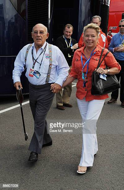 Sir Stirling Moss and Lady Susie Moss attend the British F1 Grand Prix on June 21 2008 in London England