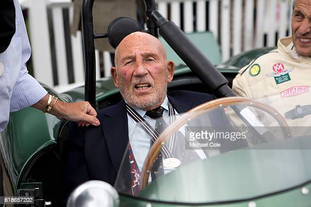Sir Stirling Moss in Aston Martin DB3S, owned by Steve Boultbee Brooks, in the Assembly Area at Goodwood on September 9, 2016 in Chichester, England.