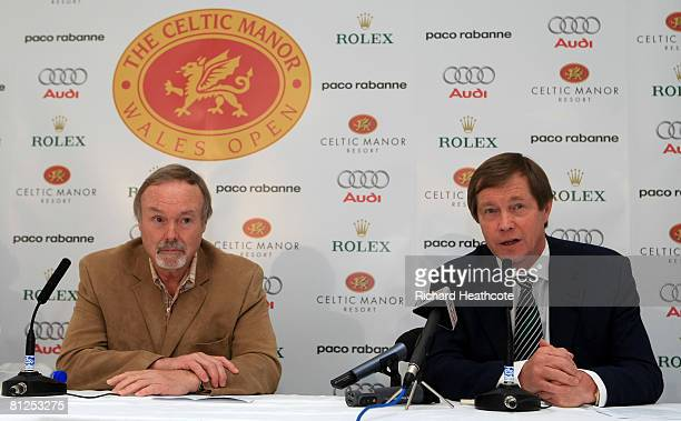 Sir Terry Matthews Chairman of the Celtic Manor Resort and George O'Grady Chief Executive of the European Tour talk to the media during a press...