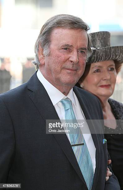Sir Terry Wogan and Lady Helen Wogan attend a memorial service for Sir David Frost at Westminster Abbey on March 13 2014 in London England