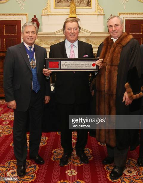 Sir Terry Wogan is presented with the Freedom of the City of London award by Lord Mayor Nick Anstee and Chamberlain of London Chris Bilsland in...