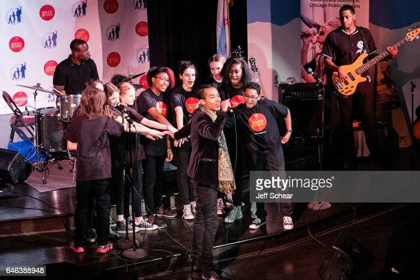 Sir The Baptist performs at Chicago Public School Announces Music Program Expansion With Little Kids Rock at Franklin Fine Arts Center Auditorium on...