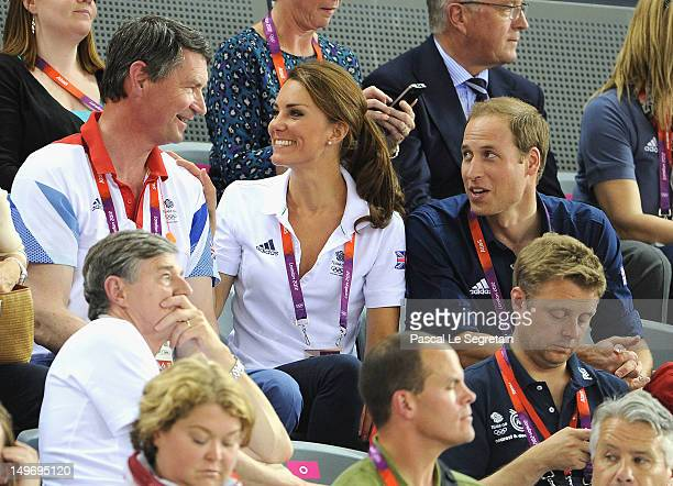 Sir Tim Lawrence Catherine Duchess of Cambridge and Prince William Duke of Cambridge during Day 6 of the London 2012 Olympic Games at Velodrome on...
