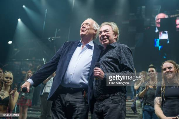 Sir Tim Rice and Sir Anthony Lloyd Webber appear on stage after the performance of Jesus Christ Superstar at O2 Arena on October 13, 2013 in London,...