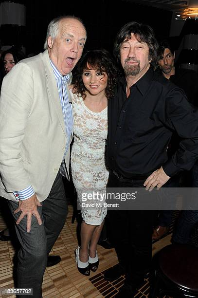 Sir Tim Rice Frances Ruffelle and Sir Trevor Nunn attend the debut of Frances Ruffelle's new one woman show 'Paris Original' at The Crazy Coqs on...
