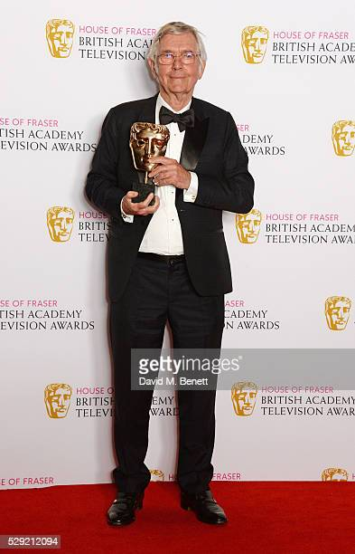 """Sir Tom Courtenay, winner of Best Supporting Actor for """"Unforgotten"""", poses in the winners room at the House Of Fraser British Academy Television..."""