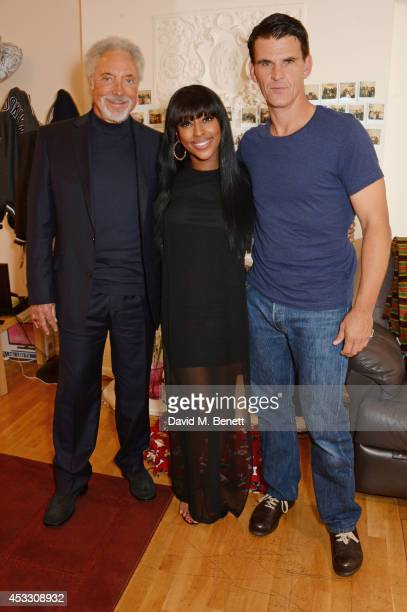 Sir Tom Jones Alexandra Burke and Tristan Gemmill pose backstage at the West End production of 'The Bodyguard' at the Adelphi Theatre on August 7...