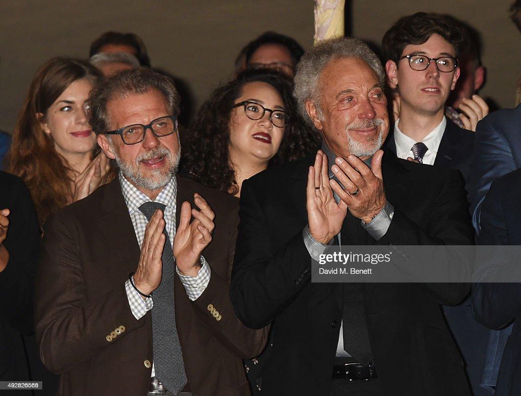 Sir Tom Jones and son Mark Woodward applaud Burt Bacharach at the