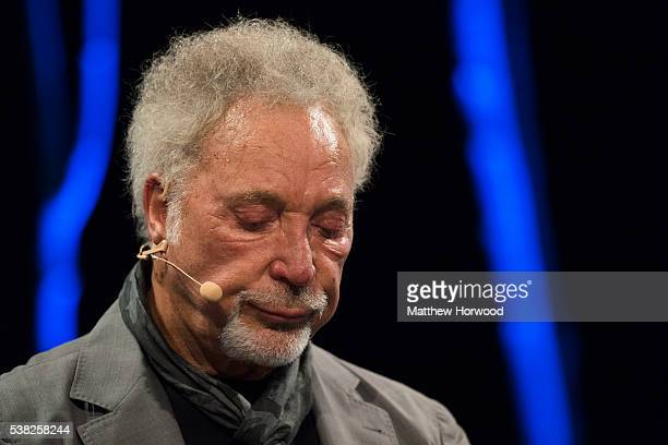 Sir Tom Jones appears to fight back tears during the 2016 Hay Festival on June 5, 2016 in Hay-on-Wye, Wales. This is the Welsh singer's first public...
