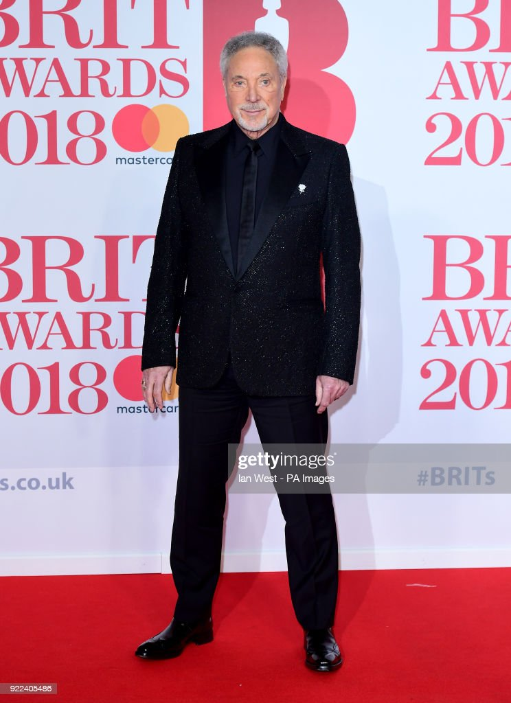 Sir Tom Jones attending the Brit Awards at the O2 Arena, London.