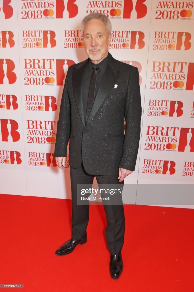 Sir Tom Jones attends The BRIT Awards 2018 held at The O2 Arena on February 21, 2018 in London, England.