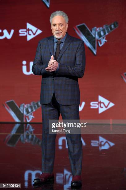 Sir Tom Jones attends the prefinal event for 'The Voice' at Elstree Studios on April 5 2018 in Borehamwood England