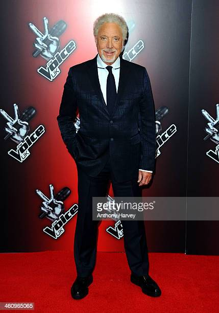 Sir Tom Jones attends the red carpet launch for 'The Voice UK' at BBC Broadcasting House on January 6 2014 in London England