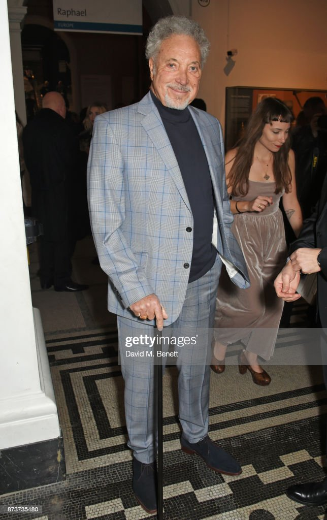 Sir Tom Jones attends the unveiling of 'The Adoration Trilogy: Searching For Apollo' by Alistair Morrison, hosted by Roger Daltrey to benefit the Teenage Cancer Trust, at The V&A on November 13, 2017 in London, England.