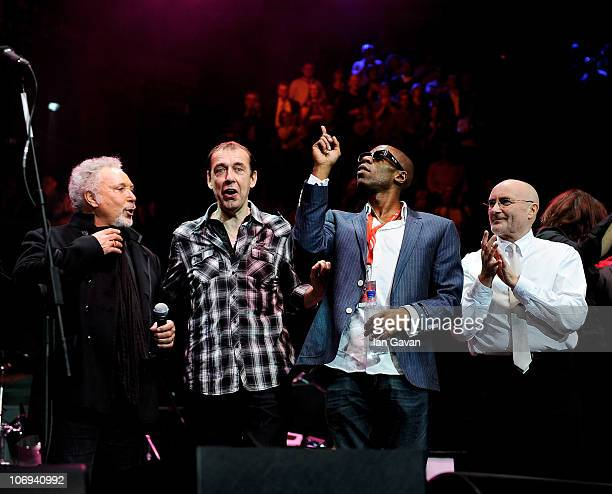 Sir Tom Jones guest Andrew Roachford and Phil Collins perform at The Prince's Trust Rock Gala 2010 supported by Novae at the Royal Albert Hall on...