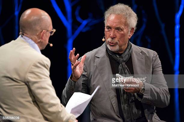 Sir Tom Jones interviewed by GQ editor Dylan Jones during the 2016 Hay Festival on June 5, 2016 in Hay-on-Wye, Wales. This is the Welsh singer's...