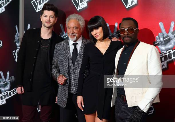 Sir Tom Jones Jessie J William and Danny O'Donoghue attend a photocall to launch the second series of The Voice at Soho Hotel on March 11 2013 in...