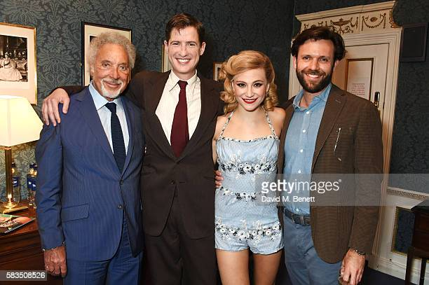 Sir Tom Jones poses backstage with Matt Barber Pixie Lott and Alexander Woodward at the West End production of Breakfast At Tiffany's at the Theatre...