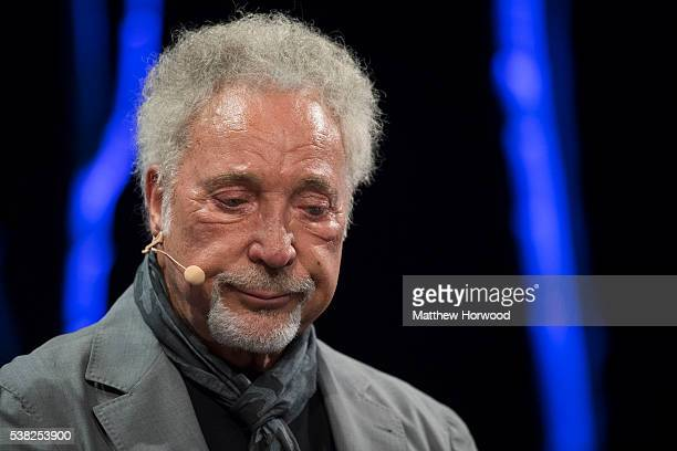 Sir Tom Jones speaks during the 2016 Hay Festival on June 5 2016 in HayonWye Wales This is the Welsh singer's first public appearance since the death...