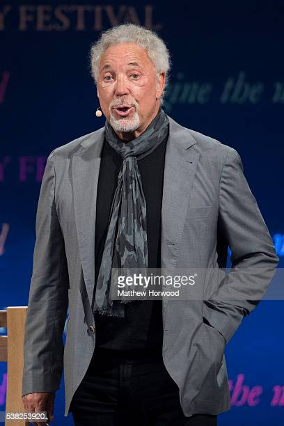 Sir Tom Jones speaks during the 2016 Hay Festival on June 5, 2016 in Hay-on-Wye, Wales. This is the Welsh singer's first public appearance since the...