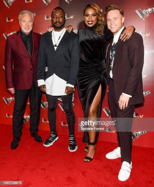 Sir Tom Jones william Jennifer Hudson and Olly Murs attend The Voice UK 2018 photocall at mediacityuk on October 15 2018 in Manchester England