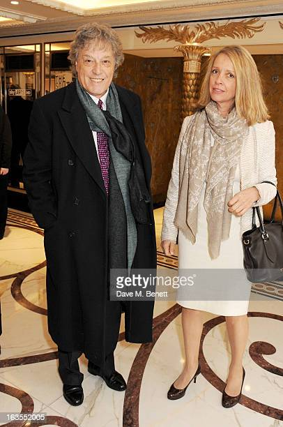 Sir Tom Stoppard and Sabrina Guinness arrive at the 2013 South Bank Sky Arts Awards at The Dorchester on March 12 2013 in London England