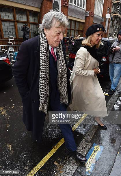 Sir Tom Stoppard and Sabrina Guinness arrive for the wedding of Jerry Hall to Rupert Murdoch at St Brides Church Fleet Street on March 5 2016 in...