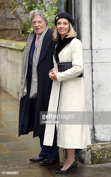 Sir Tom Stoppard and Sabrina Guinness arrive for the wedding of Jerry Hall to Rupert Murdoch at St Brides Church on March 5 2016 in London England