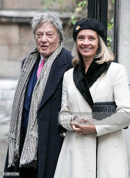 Sir Tom Stoppard and Sabrina Guinness arrive for the wedding of Jerry Hall and Rupert Murdoch at St Brides Church on March 5 2016 in London England