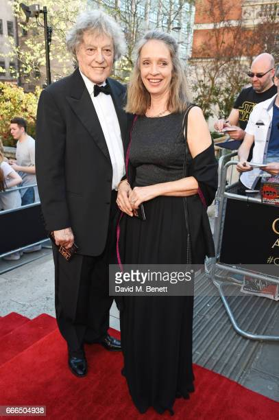 Sir Tom Stoppard and Sabrina Guinness attend The Olivier Awards 2017 at Royal Albert Hall on April 9 2017 in London England