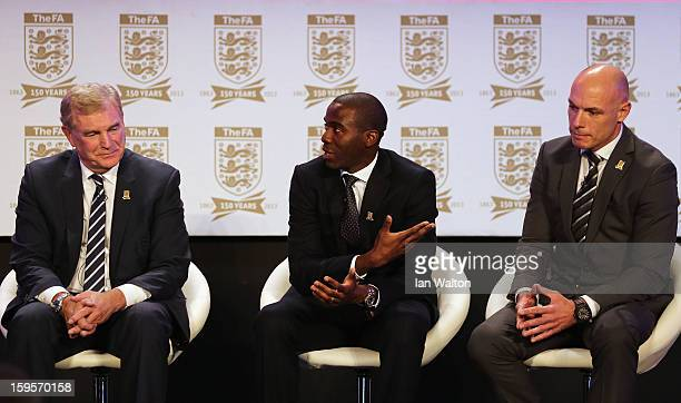 Sir Trevor Brooking Fabrice Muamba and referee Howard Webb speak on stage during the official launch to mark the FA's 150th Anniversary Year at the...